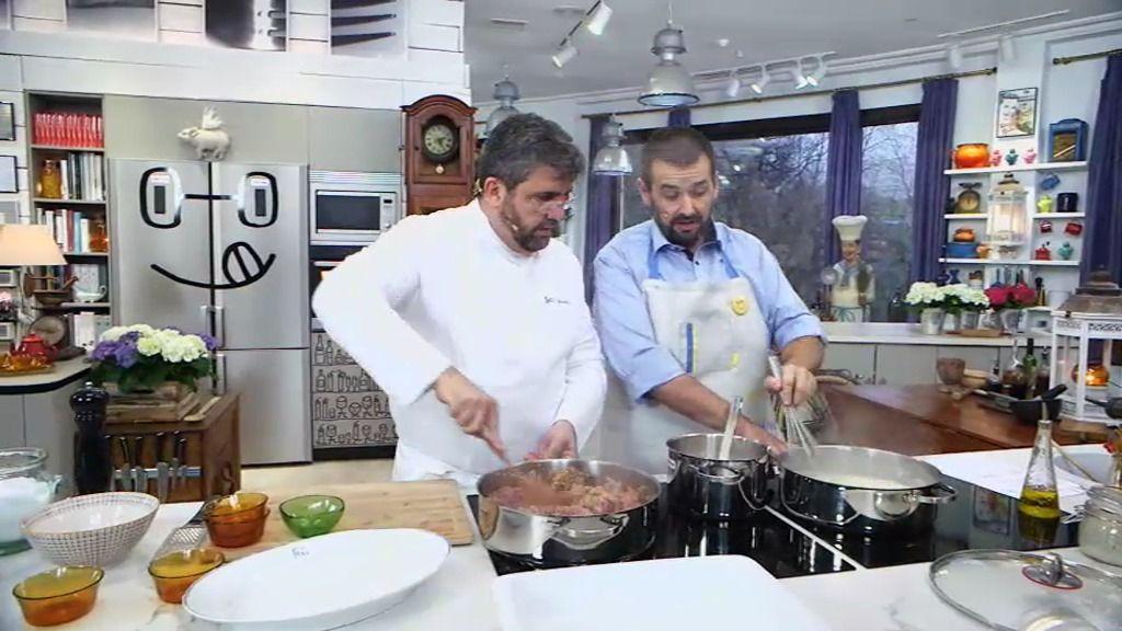 Florentino y Robin preparan el plato estrella del cómico: Lasaña 'Imperial' del tío Flo