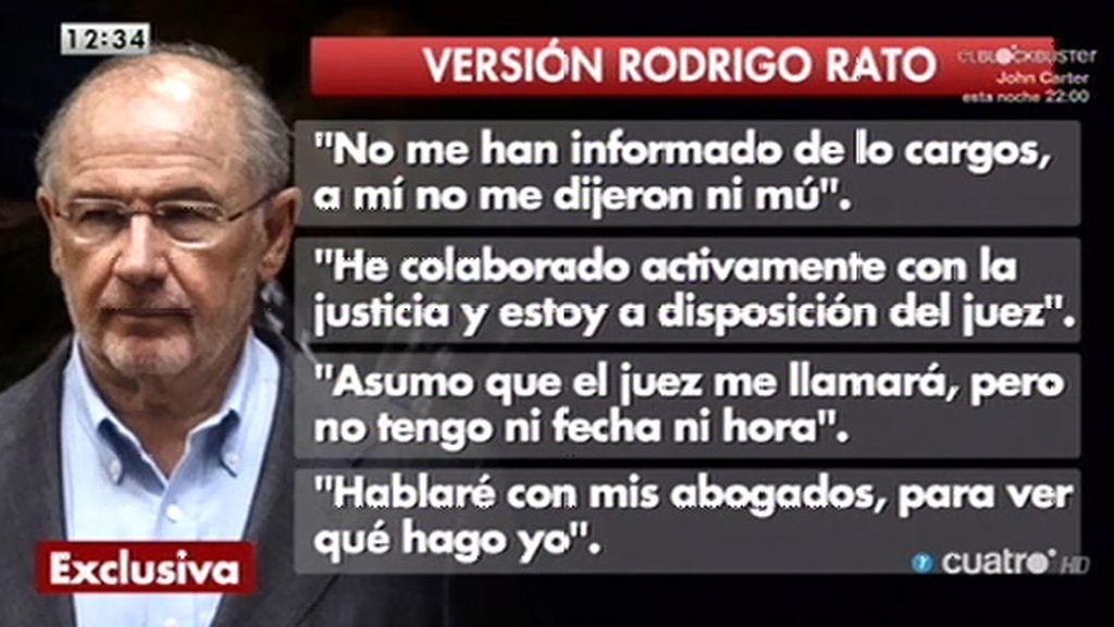 """Declaraciones en exclusiva de Rodrigo Rato: """"No me han informado de los cargos, a mí no me dijeron ni mú"""""""""""