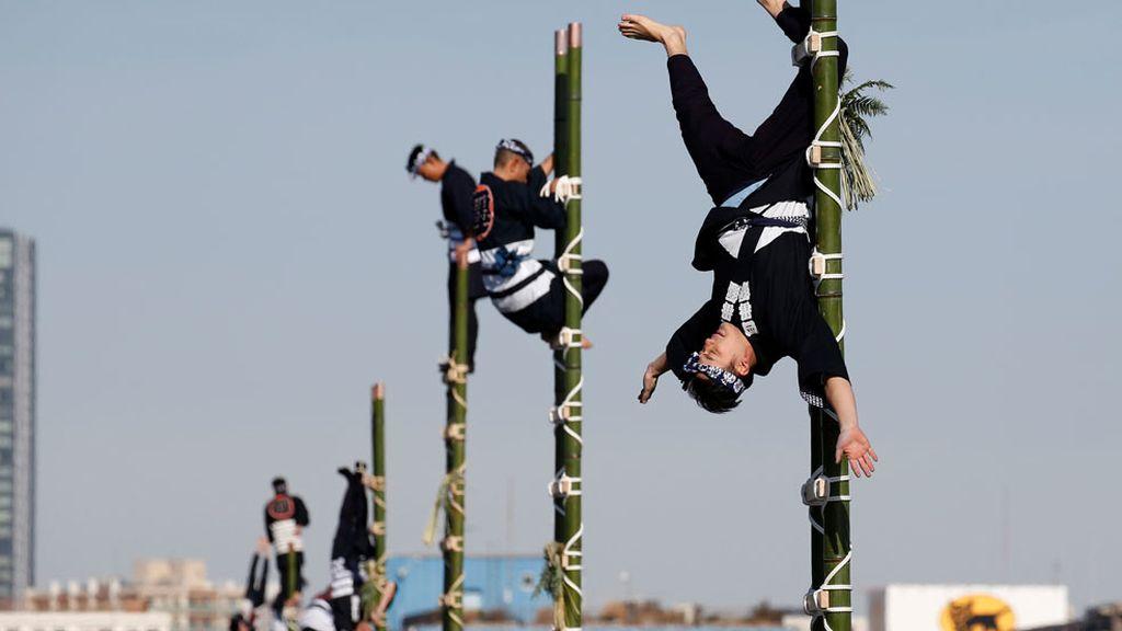 Equilibrio sobre bambú