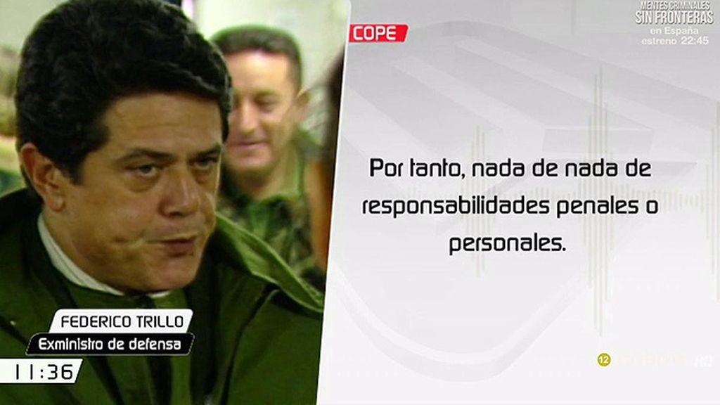 """Federico Trillo: """"Eso de que el Consejo de Estado responsabiliza al Gobierno de la tragedia es falso"""""""