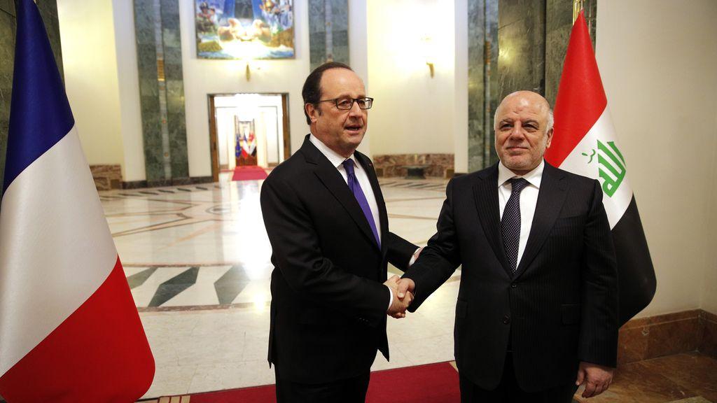 El primer ministro iraquí y el presidente de Francia se reúnen en Bagdad