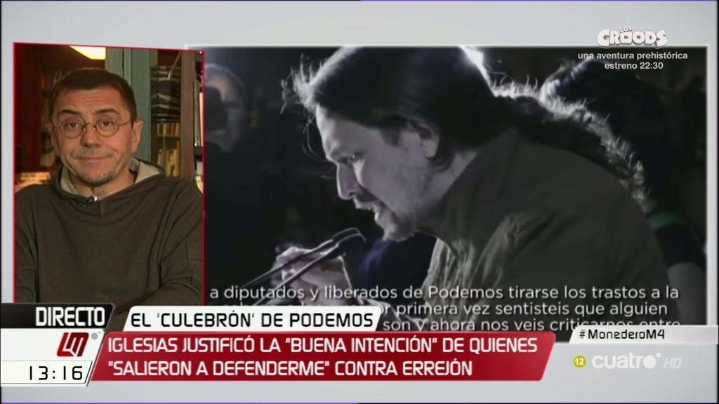 """Monedero: """"Todos tienen que entender que hay que defender al secretario general"""""""