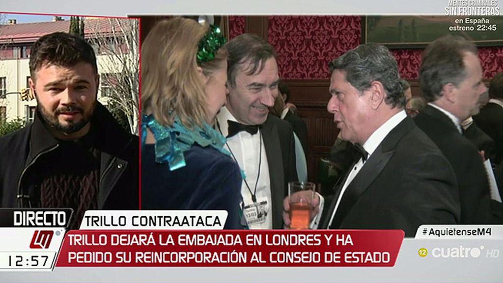 """Gabriel Rufián, de Trillo: """"Que vuelva al Consejo de Estado es un insulto más"""""""