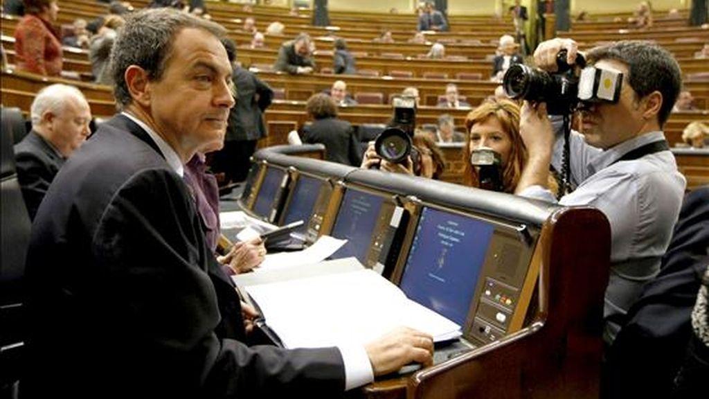 El presidente del Gobierno, José Luis Rodríguez Zapatero, asistió hoy a la sesión de control al Ejecutivo del Congreso de los Diputados. EFE