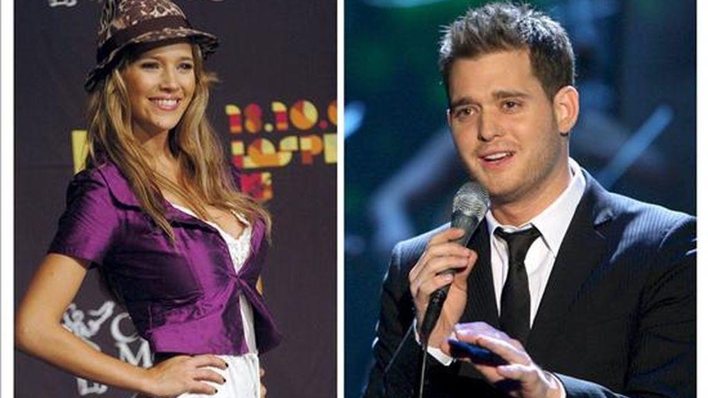 El cantante canadiense Michael Bublé y su novia, la actriz argentina Luisana Loreley Lopilato de la Torre. EFE