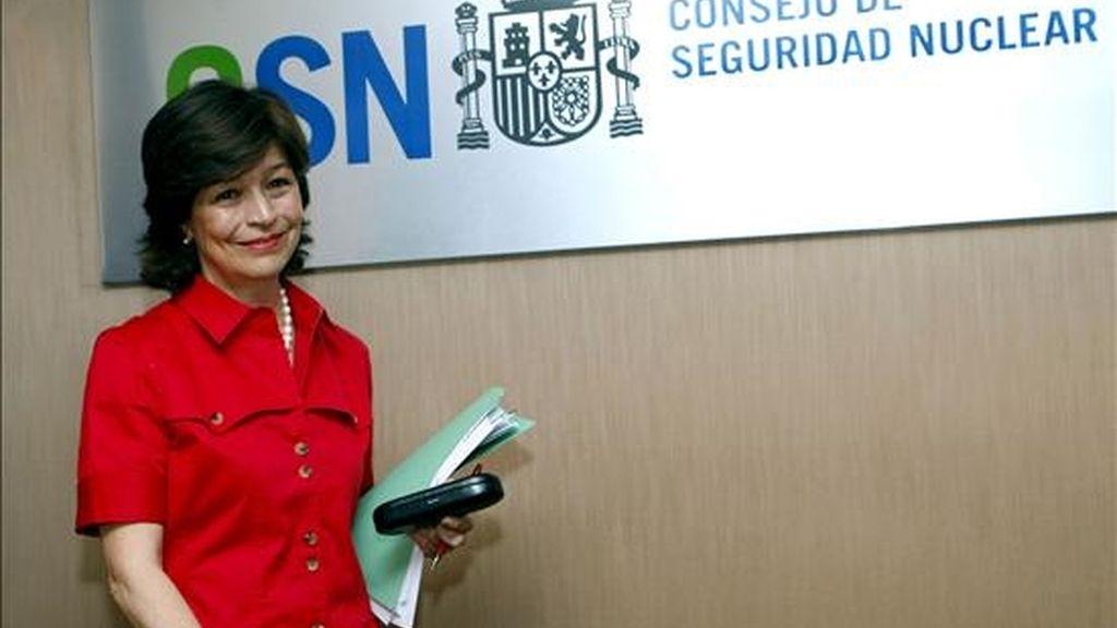 La presidenta del Consejo de Seguridad Nuclear (CSN), Carmen Martínez Ten, momentos antes de la rueda de prensa que ofreció hoy en Madrid. EFE