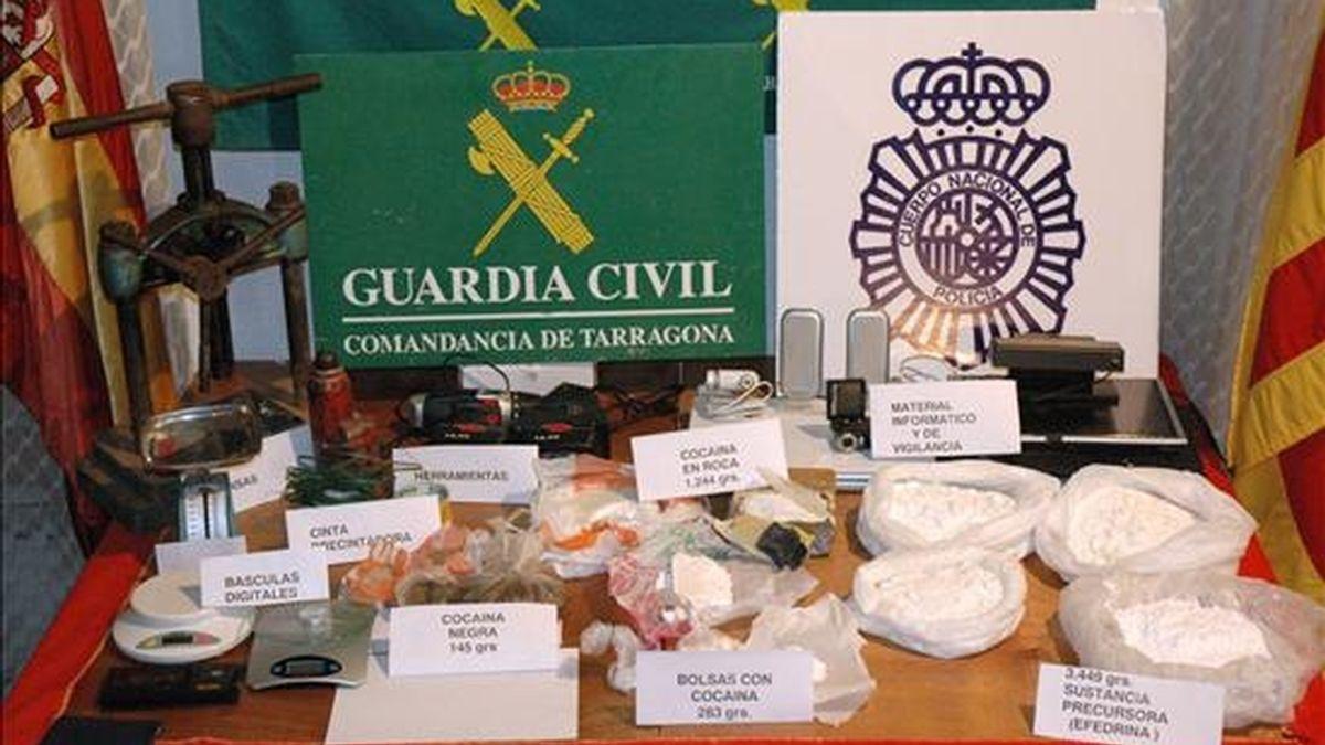 Imagen de otra operación conjunta de la Policía Nacional y la Guardia Civil contra el barcotráfico en Tarragona, Madrid y Reus. EFE/Archivo