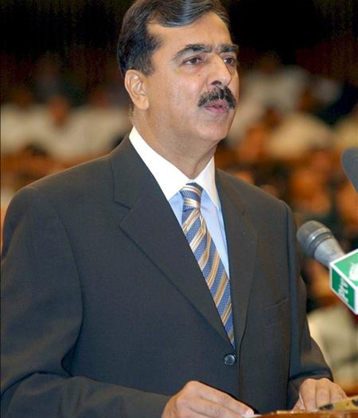 El primer ministro paquistaní, Yusuf Razá Guilani, en la Asamblea Nacional (la cámara baja del Parlamento paquistaní) en Islamabad, Pakistán. EFE/Archivo