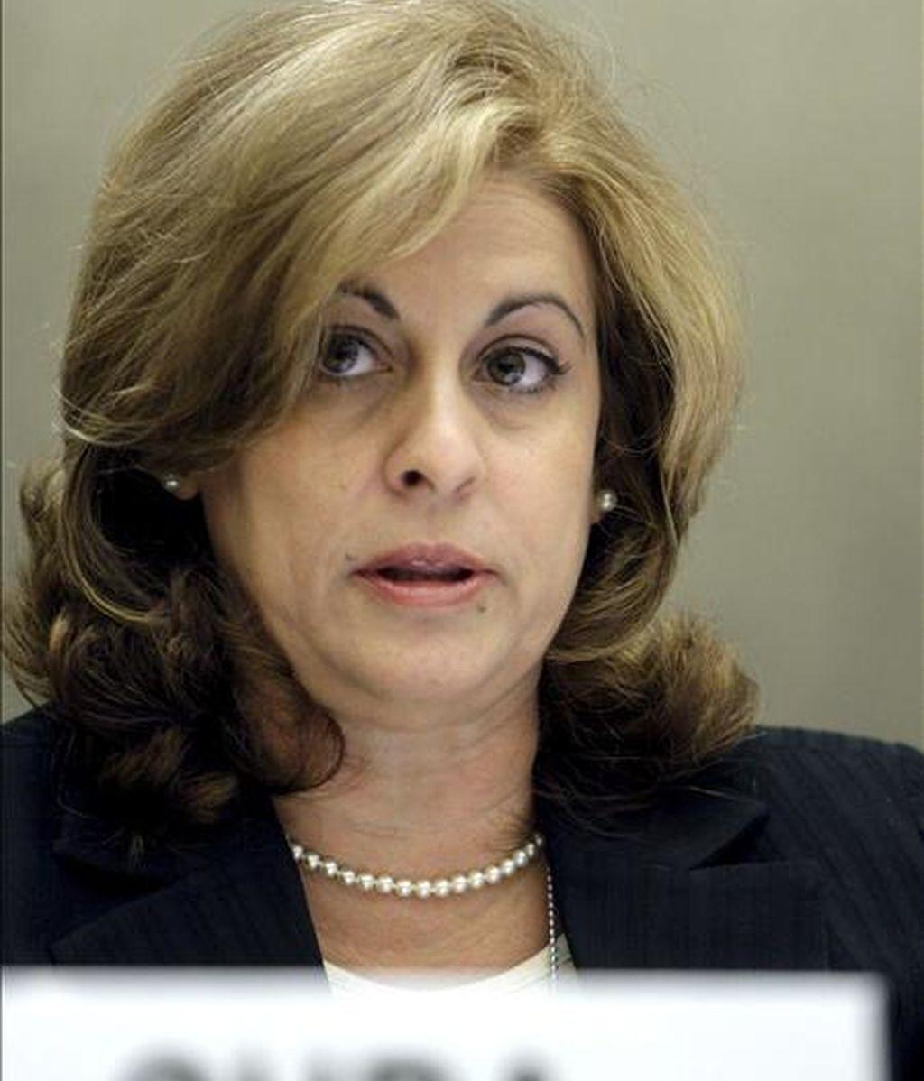 La ministra cubana de Justicia, María Esther Reus, el pasado jueves en Ginebra. EFE