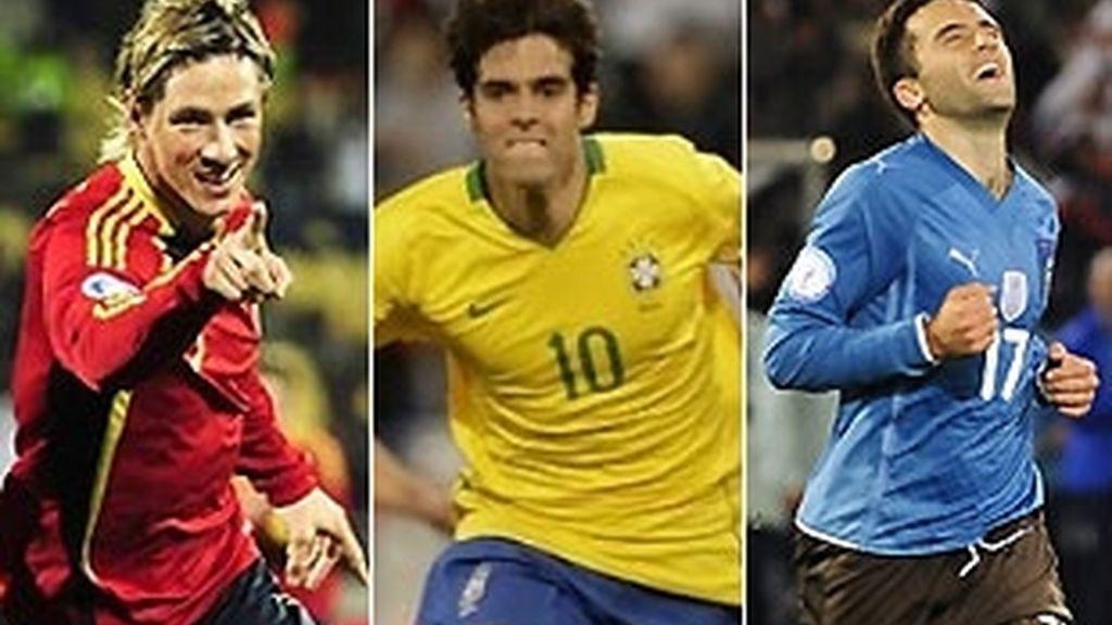 Torres, Kakà y Rossi, figuras de la primera jornada. Fotos: AP/Reuters