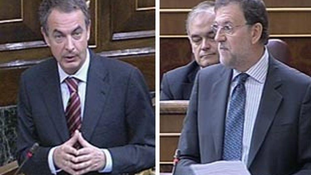 Imágenes del presidente del Gobierno, José Luis Rodríguez Zapatero, y del líder de la oposición, Mariano Rajoy. Fotos: Informativos Telecinco.