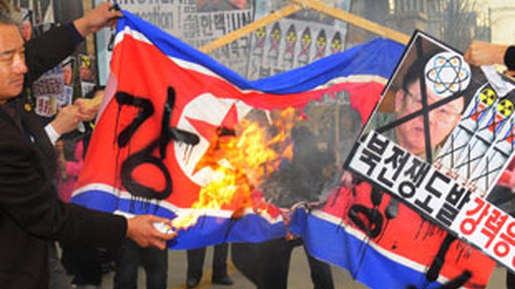Protestas contra los ataque de Corea del Norte. Foto: Gtres