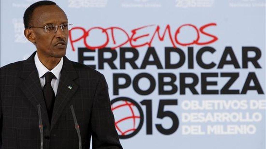 El presidente de Ruanda, Paul Kagame, durante su intervención en la reunión del Grupo de Impulso de los Objetivos del Milenio de la ONU que se celebra en Madrid. EFE