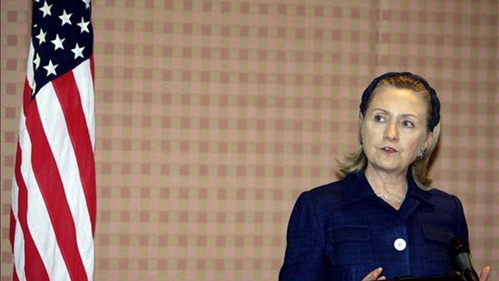 """La secretaria de Estado de EE.UU., Hillary Clinton, """"no fue la autora de este particular documento y el contenido de este procedía de fuera del Departamento de Estado"""", indicó el portavoz del Departamento de Estado de EE.UU., Philip Crowley. EFE/Archivo"""