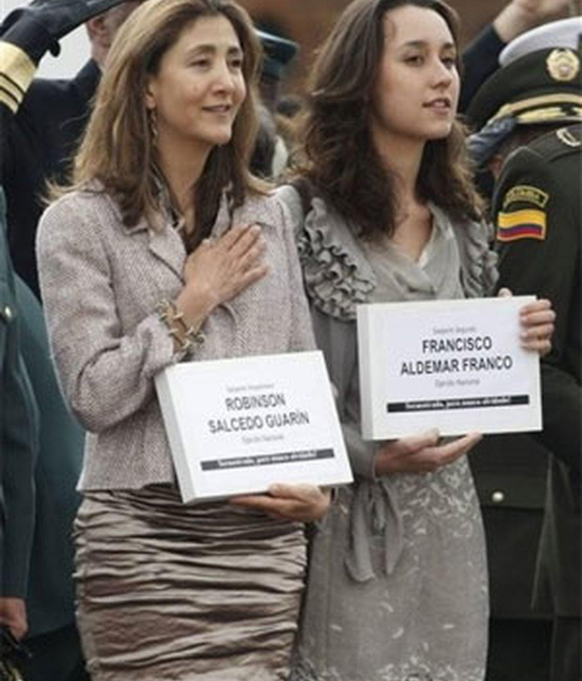 La ex candidata presidencial durante la ceremonia que conmemoró su rescate. Foto: AP