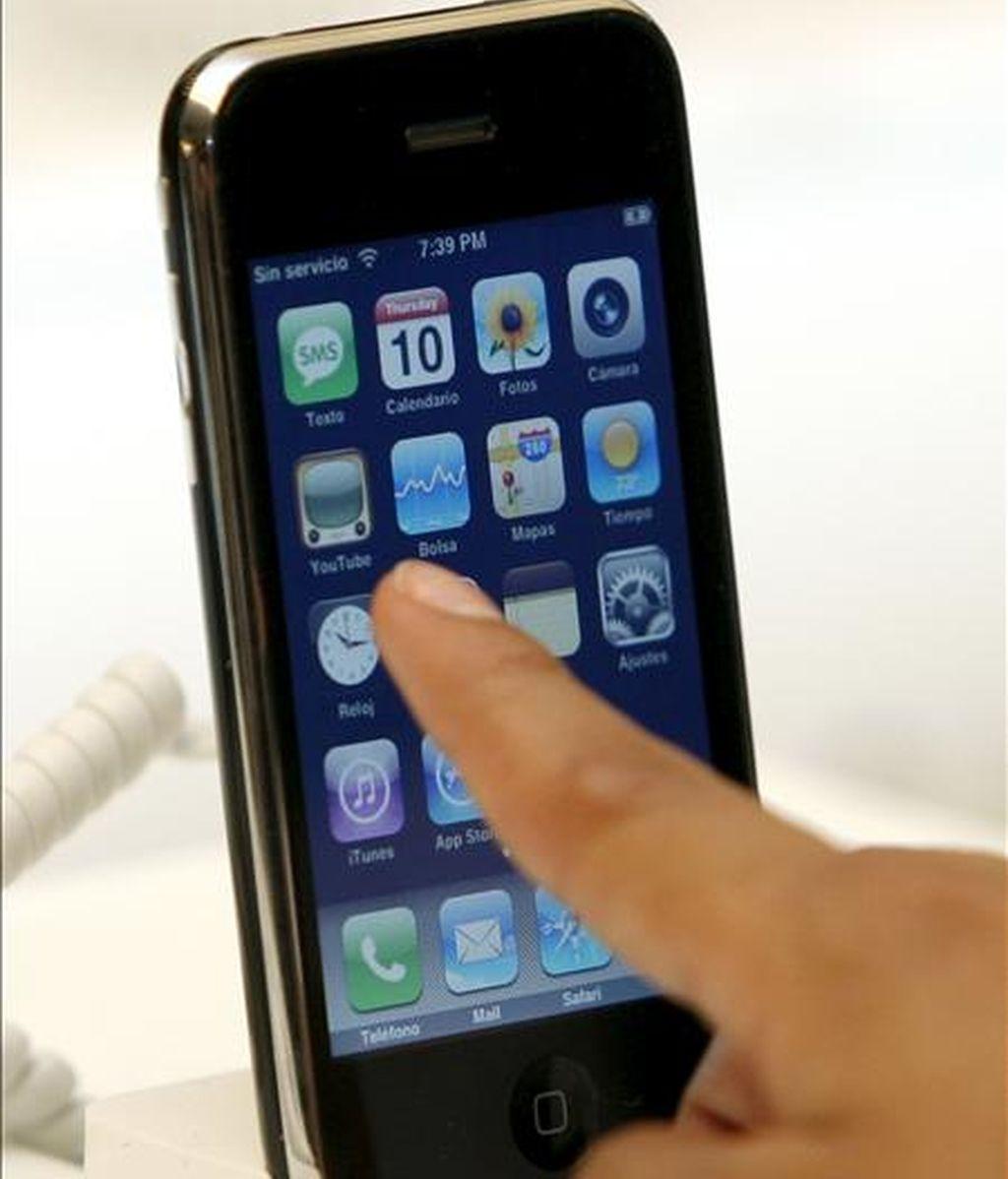 Detalle del nuevo teléfono móvil de Apple, iPhone 3G. EFE
