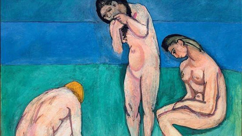 """Detalle del cuadro titulado """"Bathers with a Turtle"""" del maestro francés Henri Matisse que se expone en el Museo de Arte Moderno (MoMA) de Nueva York (EE.UU.). EFE"""