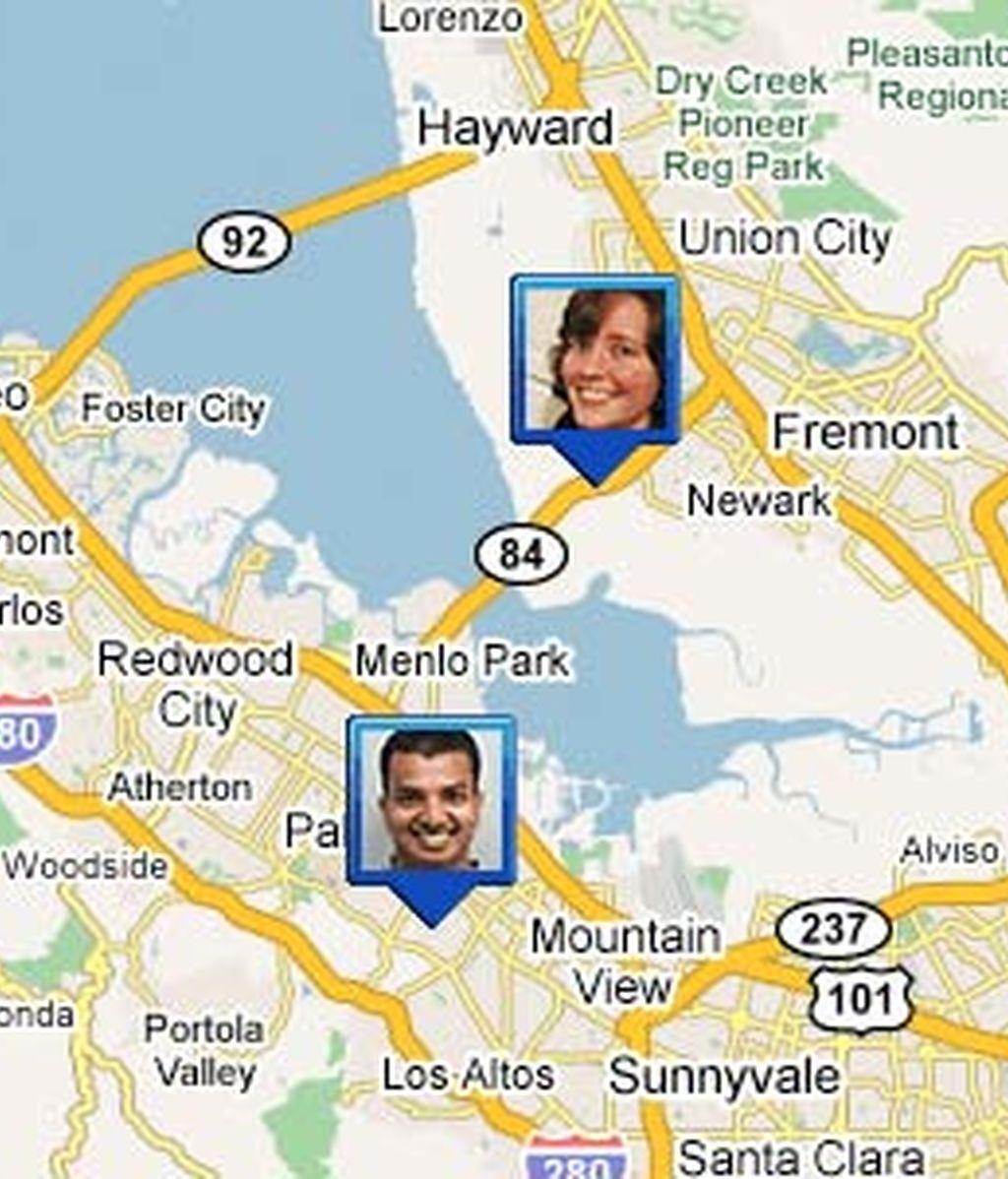 La aplicación permite conocer la ubicación exacta de tus amigos. Foto: Google Latitude.