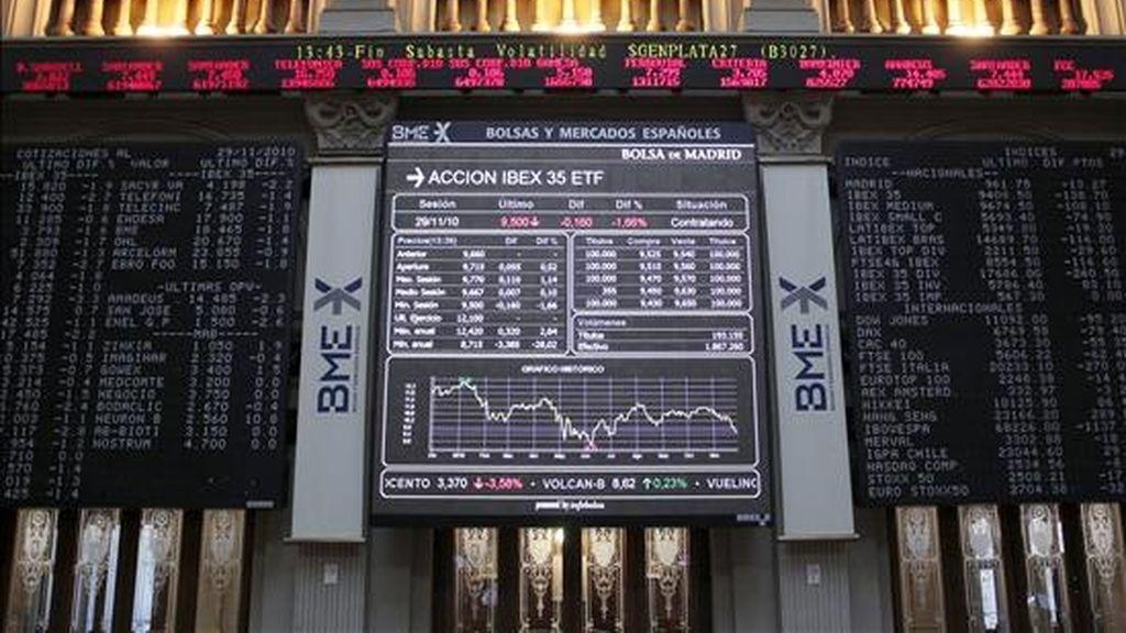 Vista de los paneles de cotización de la bolsa de Madrid. EFE/Archivo