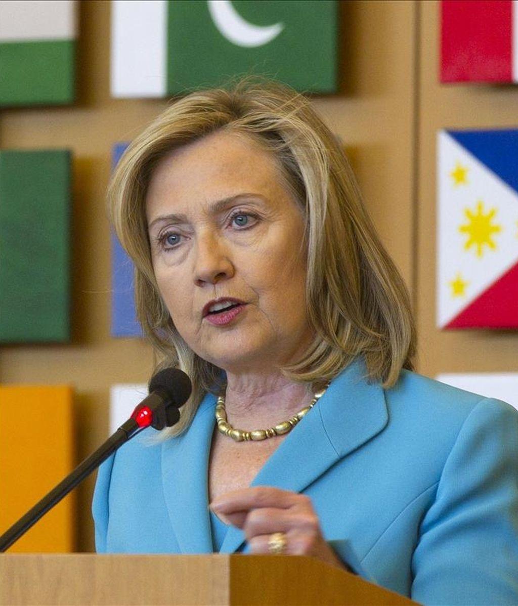La secretaria de Estado de Estados Unidos, Hillary Clinton, pronuncia hoy un discurso durante su visita a la sede de la Organización de las Naciones Unidas para la Agricultura y la Alimentación (FAO), en Roma, Italia. EFE