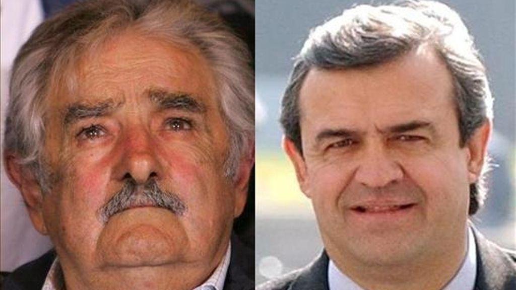"""En la imagen, el senador José """"Pepe"""" Mujica (i), de la gobernante coalición de izquierda Frente Amplio, y el ex presidente Luis Alberto Lacalle (d), en el Partido Nacional. EFE/Archivo"""