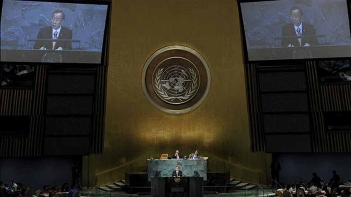 El secretario general de la ONU, Ban Ki-moon, participa en la Convención sobre biodiversidad en la sede de la ONU en Nueva York (Estados Unidos,). EFE