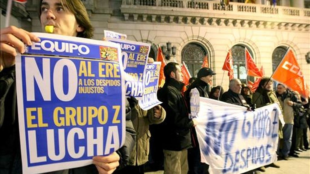 Trabajadores del Grupo Zeta en Aragón durante una manifestación para protestar contra el Expediente de Regulación de Empleo (ERE). EFE/Archivo