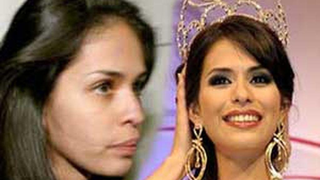 Laura Zúñiga, en dos momentos de su vida: a la izquierda poco después de su salida de prisión y a la derecha, cuando  fue coronada como Miss Sinaloa 2008. Foto montaje Informativos Telecinco.