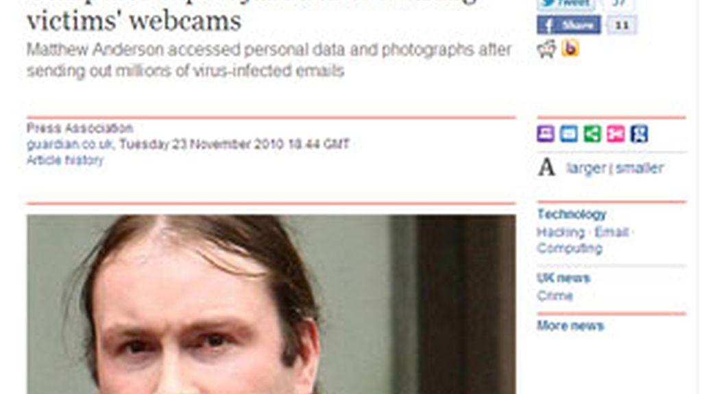 Matthew Anderson pasará 18 meses en prisión por acceder a miles de ordenadores. Foto: The Guardian.