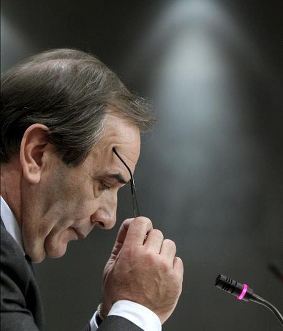 El portavoz del PSOE en el Congreso, José Antonio Alonso, durante la rueda de prensa que ofreció al término de la reunión de la Junta de Portavoces de la Cámara. EFE