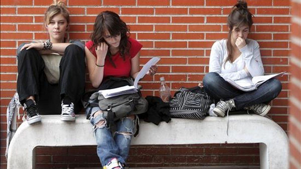 Varios estudiantes realizan un último repaso antes de un examen. EFE/Archivo