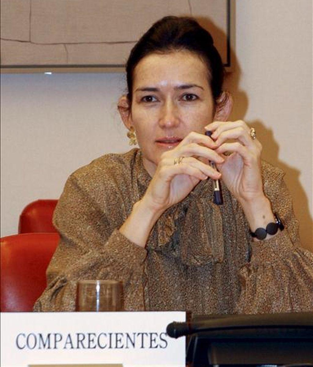 La ministra de Cultura, Ángeles González-Sinde, al inicio de su comparecencia ante la comisión de Cultura del Congreso de los Diputados. EFE