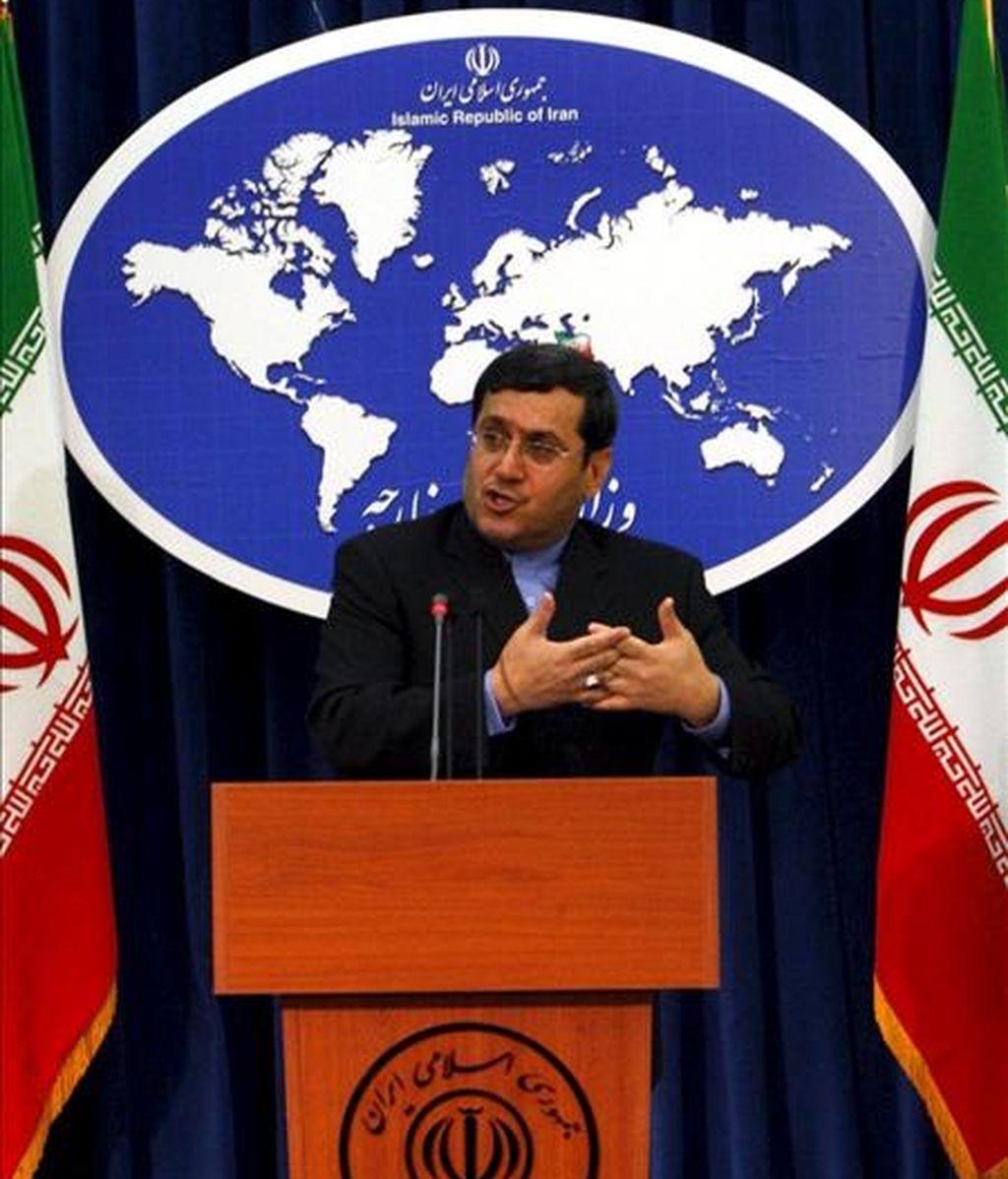El portavoz del Ministerio iraní de Asuntos exteriores Hassan Ghashghavi, durante una rueda de prensa celebrada en Teherán. EFE