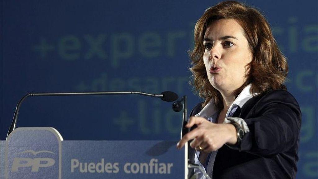 La portavoz del Grupo Parlamentario Popular en el Congreso de los Diputados, Soraya Sáez de Santamaría. EFE/Archivo