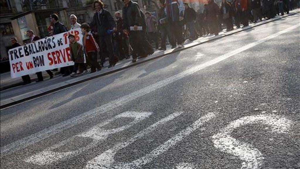 Los conductores de autobuses de Barcelona durante una huelga. EFE/Archivo