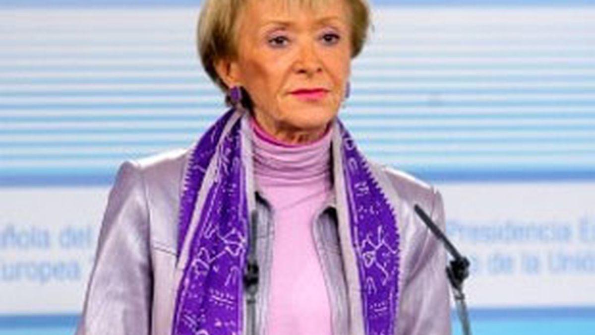 Imagen de archivo de la que fuera vicepresidenta primera del Gobierno, María Teresa Fernández de la Vega. Foto: EFE.