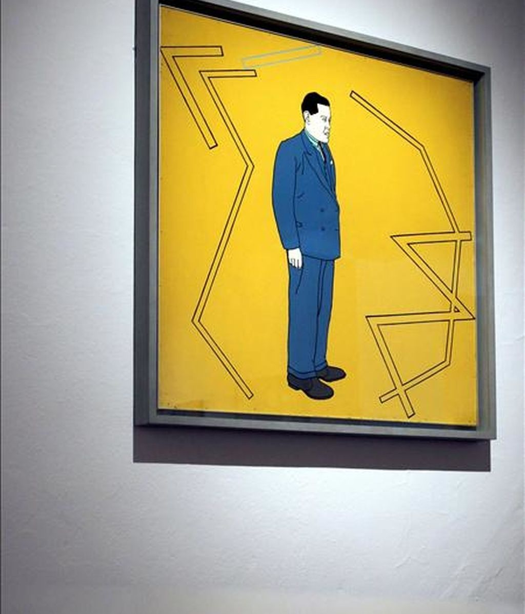 """Vista de la obra de Patrick Caulfield , """"Portrait of Juan Gris"""" (1963),que se muestra en la exposición """"Let us face the future"""", la mayor que se ha organizado nunca en España sobre el arte británico de posguerra (1945-1968), que se exhibe a partir de hoy en la Fundación Miro con obras de Henry Moore, Bacon, Hamilton, Freud o Anthony Caro, entre otros. EFE"""