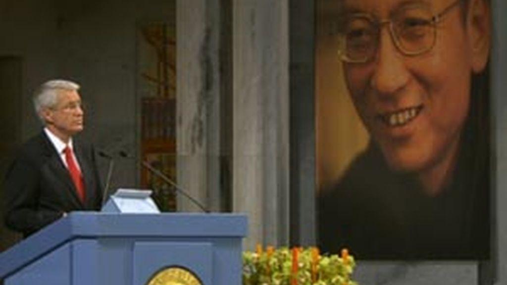 Imagen de la ceremonia de entrega del Premio Nobel de la Paz a Liu Xiaobo. Vídeo: Informativos Telecinco