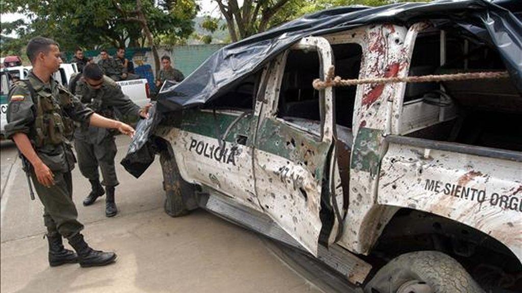 El atentado fue atribuido a las FARC, grupo terrorista que la semana pasada en diferentes acciones cobró la vida de al menos 20 policías y militares. EFE/Archivo