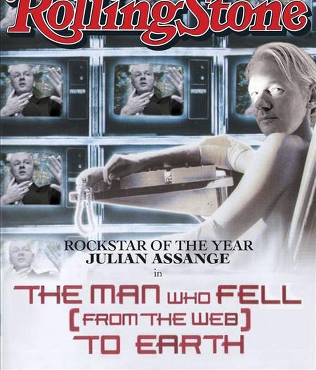 """Fotografía facilitada por la publicación Rolling Stone de la portada de la revista para el mes de enero de 2011 en la que aparece Julian Assange emulando a David Bowie en la película """"El hombre que cayó a la tierra"""" (1976). EFE"""
