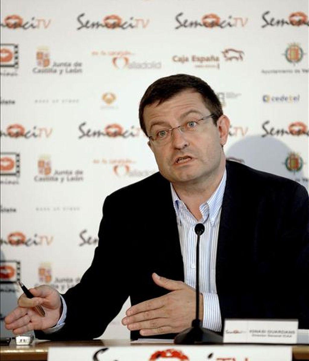 El director general del Instituto de Cinematografía y de las Artes Audiovisuales (ICAA), Ignacio Guardans, durante la rueda de prensa ofrecida esta tarde en Valladolid dentro del Festival Internacional de Cine y Ficción para Televisión (SeminciTV). EFE