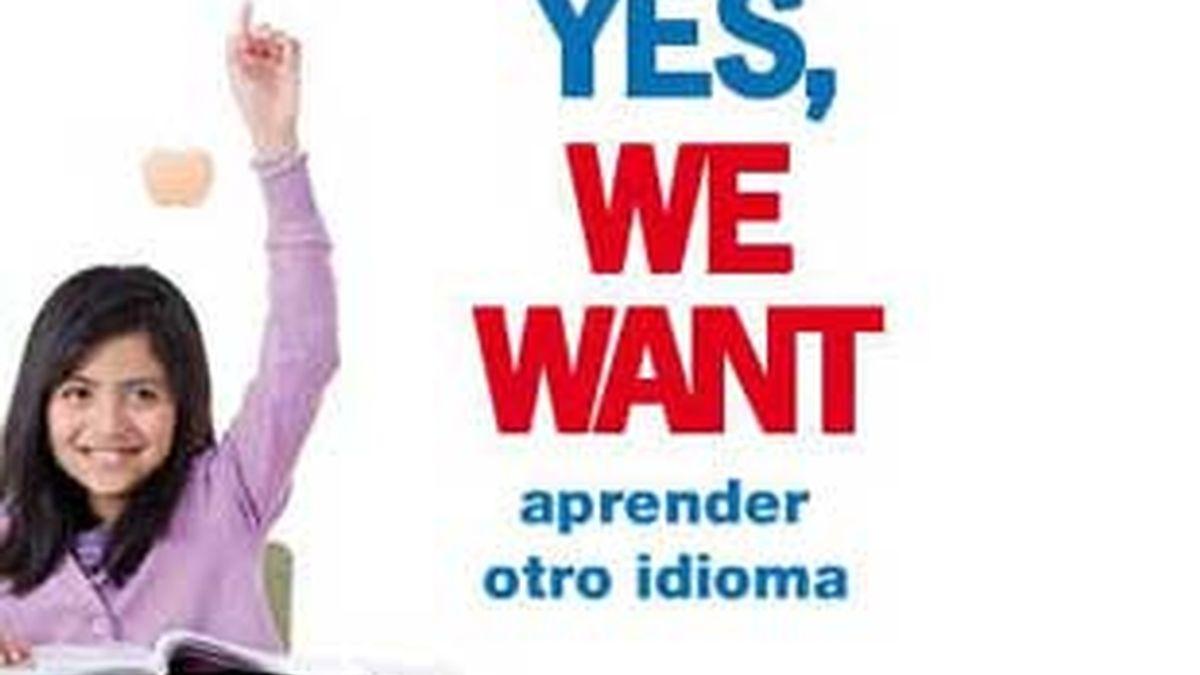'Yes, we want' es el eslogan utilizado con errores gramaticales.