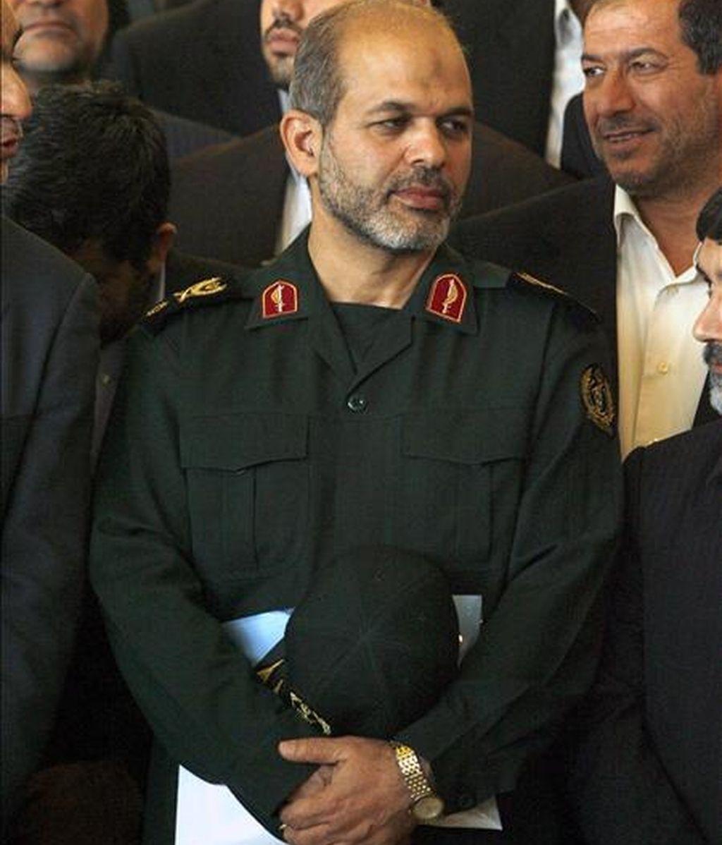 El ministro de Defensa iraní, Ahmad Vahidi, durante una rueda de prensa en el Parlamento de Teherán (Irán). EFE/Archivo
