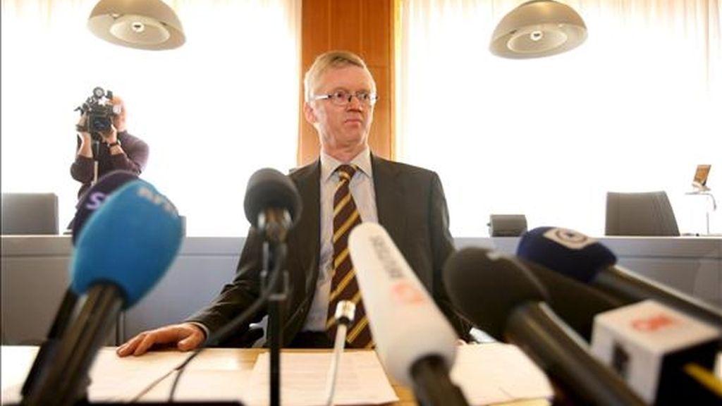 El juez Tomas Norstrom comenta la sentencia del caso 'The Pirate Bay', el pasado 17 de abril. Foto:EFE/Archivo
