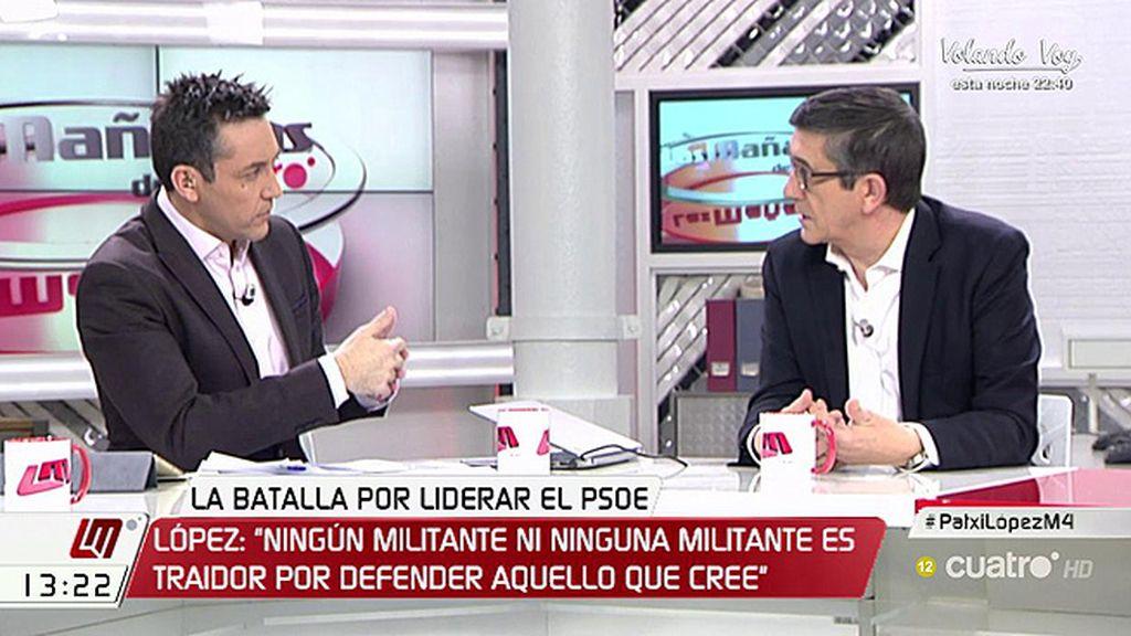 """Patxi López: """"Ningún compañero es traidor a nada por defender algo en lo que cree"""""""
