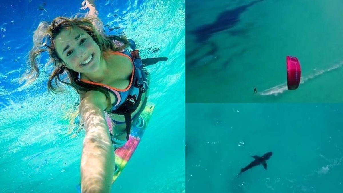 tiburón y chica