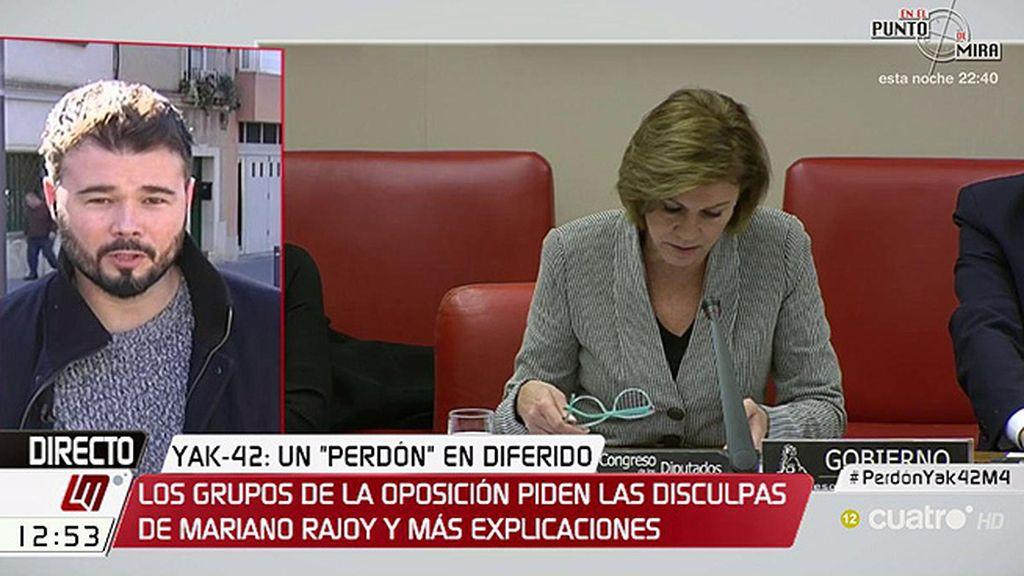 """Gabriel Rufián, de Cospedal: """"Casi se pidió perdón como si hubiera sido una travesura"""""""