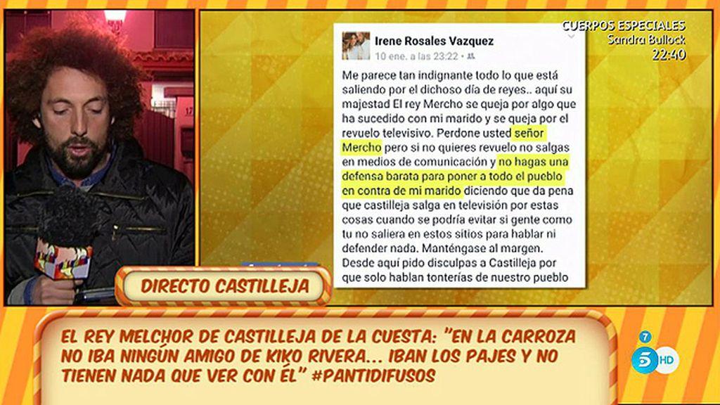 Irene Rosales se suma a la polémica del 'caramelazo'
