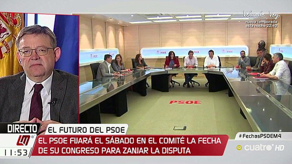 """Ximo Puig, sobre el Congreso del PSOE: """"Lo importante no son las fechas sino que el PSOE se resetee en cuanto a contenidos"""""""