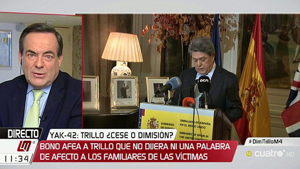 """Bono, de Trillo: """"Da la impresión de que Rajoy ha debido decirle: 'Recoge tus bártulos, vete y, a ser posible, cállate"""""""